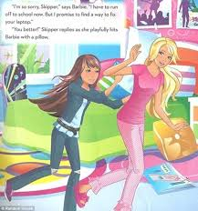 barbie book     i can be a computer engineer         misogynistic     plot    pillow fight  the next scene sees barbie  right  get hit   a