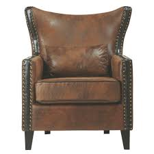Meloni <b>Faux</b> Suede <b>Brown</b> Bonded Leather Arm <b>Chair</b>