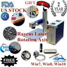 US 30W Split Fiber Laser Marking Engraver <b>Including Rotary Axis</b> ...