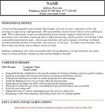 team leader cv example   job seekers forumsgood luck