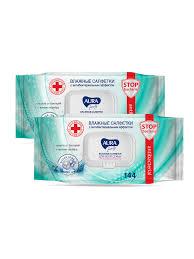 <b>Влажные салфетки Aura</b> 2уп х 144шт Антибактериальные ...