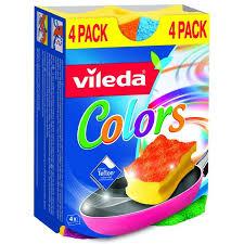 Купить губку <b>Vileda</b> Пур <b>Колорс</b> высокий поролон, 4шт в ...