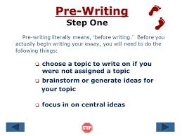 the writing process steps in writing an essay pre  writing    introduction what is the writing process   writing an essay takes time  that      s