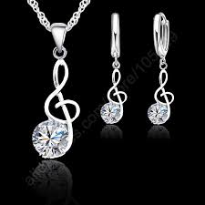 Musical Notes Jewelry Sets Real 925 Sterling Silver <b>Cubic</b> Zirconia ...