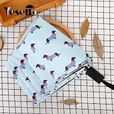 Yesello <b>Striped</b> Cat <b>Three fold Umbrella</b> Women Windproof Pencil ...