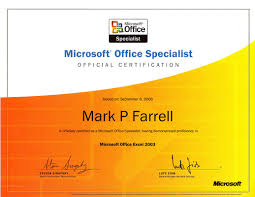 certifications mark p farrell s e resume microsoft office specialist excel