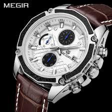 Genuine MEGIR quartz <b>male watches</b> Genuine <b>Leather watches</b> ...