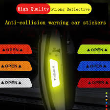 <b>4pcs Car Open</b> Door Warning Reflective Stickers Open Stickers ...