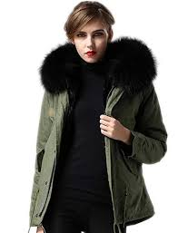 Melody Women's Winter <b>Real Raccoon Fur</b> Collar Hooded Parkas ...