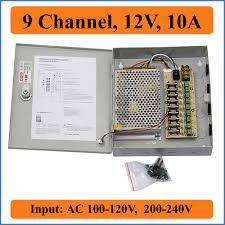 <b>9 channel</b> DC 12V 10A CCTV Camera Power Box Switching Power ...