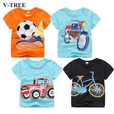 V TREE Summer <b>Baby Boys T</b> Shirt <b>Cartoon</b> Car Print Cotton Tops ...