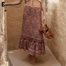 2019 <b>Everkaki</b> Cotton Bohemian <b>Long Skirts</b> For Women Rosy Red ...