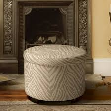 Zebra Living Room Decor Furniture Round Zebra Print Ottoman With Storage Decorative