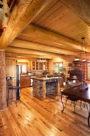 Best Type Of Floor For Kitchen Log Home Kitchen Design Yellowstone Log Homes