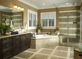 bathroom ideas corner shower design: large bathroom in beige and browns with corner tub and adjacent glass shower