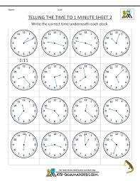 Clock Worksheets - to 1 minuteTelling the Time to 1 minute Sheet 2 ...