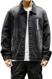 Haseil <b>Men's Casual</b> Denim <b>Jacket Turn Down</b> Collar Classic ...