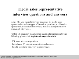Media sales representative interview questions and answers