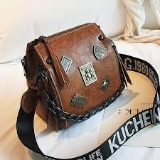 Metal badge Appliques handbags Chains <b>square</b> Crossbody bags ...
