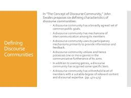 discourse communities  in quotthe concept of discourse community