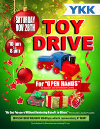 upcoming events community toy drive downtown lawrenceburg come help give christmas to children that would not have christmas ykk will be having a community toy drive on 28th at the walmart to help bring