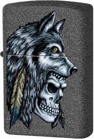 29863 <b>Зажигалка Zippo Wolf Skull</b> Feather Design, Iron Stone
