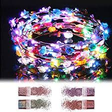 FunPa LED Flower Crown, <b>8 PCS</b> Light Up Flower Wreath ...