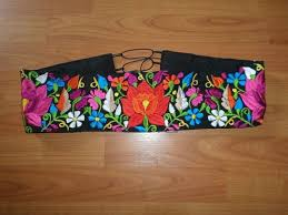 RED Traditional Mexican Embroidered Colorful <b>Floral</b> Belt Belts