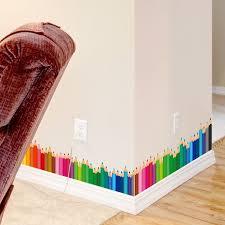 [SHIJUEHEZI] <b>Colorful</b> Pencils <b>Baseboard</b> Sticker Vinyl DIY <b>Skirting</b> ...