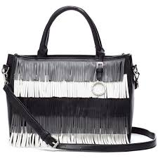 catherine by catherine malandrino blackwhite elliot fringe satchel citi trends accessories front catherine malandrino tote black white beige