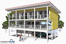 CH Raised Beach House Plan   Beach House Plansraised Beach House  middot  Beach Home Plan