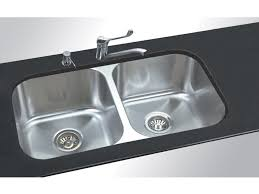 undermount kitchen sink stainless steel: excellent double bowls undermount kitchen sinks with black marble countertop and stainless steel double hole pull out faucets