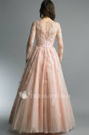 <b>High</b>-<b>Neckline Tulle</b> Floor-Length A-Line Zipper <b>Long</b>-Sleeve Dress ...