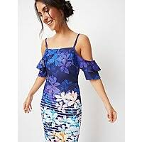 Blue Pastel <b>Floral Stripe</b> Print Scuba Midi Dress | Women | George ...