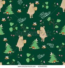 bear and bee seamless pattern children vector illustration with forest and animals background for baby nursery cool bee animal
