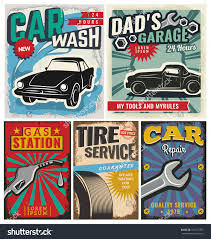 vintage retro style set vector cars stock vector  set of vector cars flyer template garage tire service