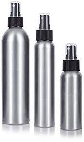 Aluminum <b>Empty Refillable</b> Fine Mist Spray Bottle <b>Set</b> 3 piece, <b>1</b>-2.7