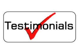 Testimonials with a tick through