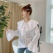 <b>Korean</b> Style Fashion <b>White Cotton</b> Blouse <b>Women</b> Bandage ...