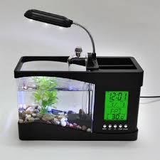 mini usb lcd desktop lamp light fish tank aquarium led clock office desk aquarium