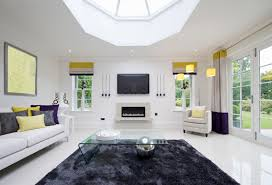 brilliant white living room sparked by splashes of color shades of white and purple pop brilliant unique living room