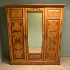 spectacular impressive figured burr pollard oak antique triple wardrobe by john art deco figured walnut wardrobe vintage