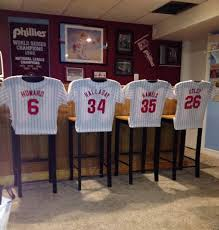 phillies jersey bar stools sports home decor could make these out of wood paint bar furniture sports bar
