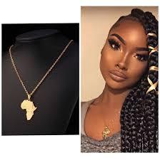 Stainless Steel <b>Africa Map Necklace</b> Geometric <b>Pendant</b> Women ...