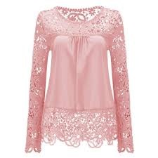 <b>Large Size</b> Women Lace <b>Long Sleeve</b> Chiffon Blouses Shirt Crochet ...