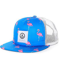 Neff Flamingo White & Blue Trucker Hat | Фламинго