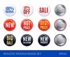 Free Vector | Red <b>white</b> and black realistic badge sticker icon set ...
