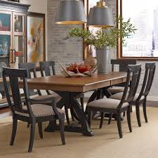 seven piece dining set: kincaid furniture stone ridge seven piece dining set with rectangular table and black painted chairs