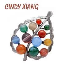 <b>CINDY XIANG</b> Colorful <b>Stone</b> Leaf Brooches for Women Fashion ...