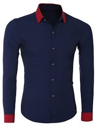 Hit Color <b>Turn</b>-<b>Down Collar</b> Long Sleeve Shirt For Men in Cadetblue ...